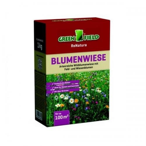 Greenfield Blumenwiese 1 kg Faltschachtel, Rasensamen, Rasensaat
