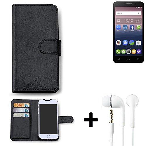 K-S-Trade Hülle für Alcatel One Touch Pop 3 (5) Dual-SIM Schutz Wallet Case Walletcase schwarz Handytasche Klapphülle inkl. Kopfhörer in Ear Headphones