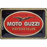Nostalgic-Art Moto Guzzi Logo de Cartel de Chapa, Metal,, 20x 30cm