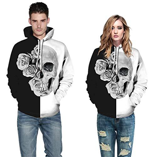 Weißes Kostüm Ghost Blatt - Zilosconcy Halloween Kostüm Unisex Sweatshirts Herren Damen Halloween Aufdruck Hoody 3D Druck Hoodie Halloween Frauen MäNner Paare 3D Print Langarm Hoodie Sweatshirt Pullover Tops