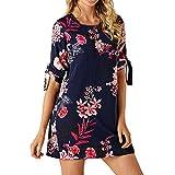 VEMOW Elegante Damen Blumendruck Bowknot Ärmeln Chiffon Cocktail Minikleid Casual Täglichen Party O-Ausschnitt Kleid(Marine, EU-46/CN-XL)