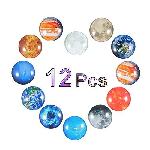 Fdit 12er Planet Magnete Kühlschrank Premium für Büroschränke Whiteboard Kalender Dekorative