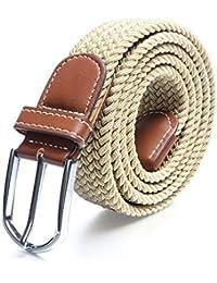 Cinturones elásticos Tela para Hombre Tejido Cinturón Trenzado Estiramiento Cinturón con correas de cuero PU durable hebilla por Jeracol