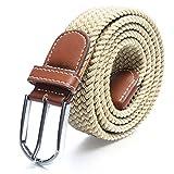 Cinturones elásticos Tela para Hombre Tejido Cinturón Trenzado Estiramiento Cinturón con correas...