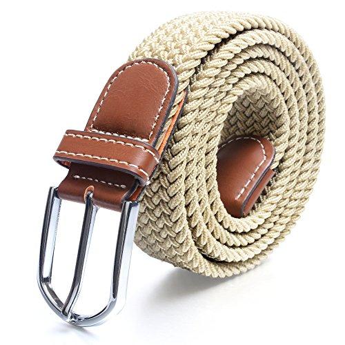 Cinturones elásticos Tela para Hombre Tejido Cinturón Trenzado Estiramiento Cinturón con correas de cuero PU durable hebilla 115-120cm por Jeracol