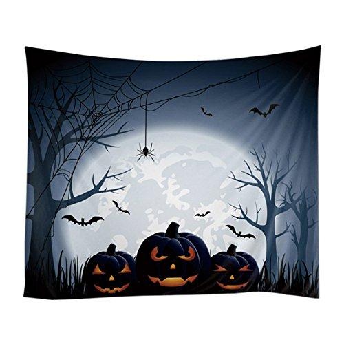 Goxitiname halloween arazzo, happy halloween poster design zucca ragnatela pipistrelli guardia la luna, da appendere alla parete per soggiorno e camera da letto dormitorio, 51w x 60l-inches
