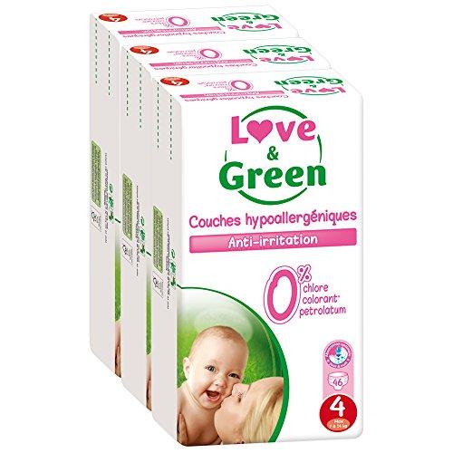 Love & Green - Couches Bébé Hypoallergéniques 0% - Taille 4 (7-14 kg) - Lot de 3 x 46 couches (138 couches)