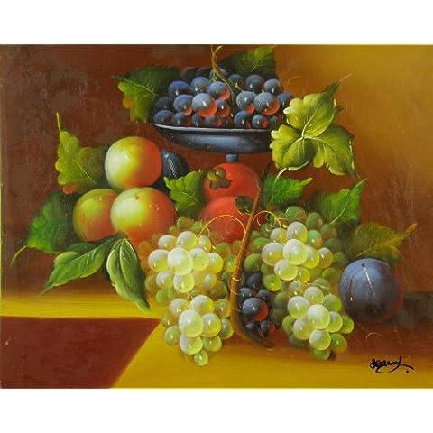Set olio dipinto natura morta frutta in galleria. Dipinto a mano 40x 40cm Top