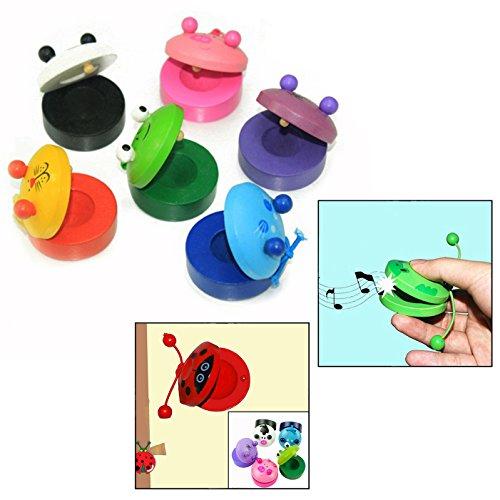 OFKPO 6 Stück Karikatur Tiere Kastagnetten aus Holz,Baby Lernen Musikinstrumente Spielzeug