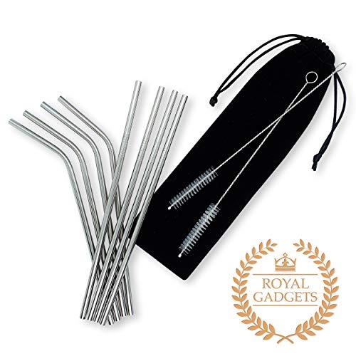Premium Edelstahl Strohhalme | Wiederverwendbare & Umweltfreundliche Trinkröhrchen aus Metall | 10-Teilig im praktischen Aufbewahrungsbeutel | Geschmacksneutral & BPA - Frei/Plastikfrei