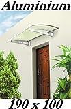 Aluminium Vordach 190 x 100 cm Türdach Türvordach Haustür Tür Dach Pultvordach