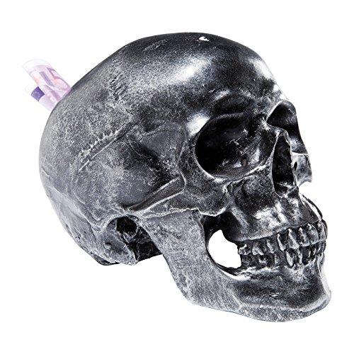 Kare 35872 Skull - Salvadanaio a forma di teschio, effetto anticato, colore: Argento
