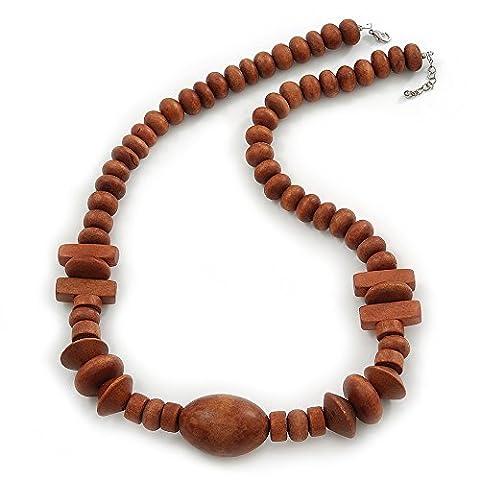 Gros Collier Perles Bois Brun 64 cm/extension 3 cm L