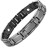 Nouveauté Bracelet Aimanté homme en titane gris acier, Boîtier velours et Ustensile ajusteur inclus