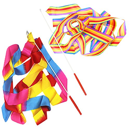 Yangyme Dance Ribbons Rhythmisches Gymnastikband, Gymnastikband, Bänder, Tanzschlangen mit Stangen, Luftschlangen, Twirling-Band für Kinder im Vorschulalter