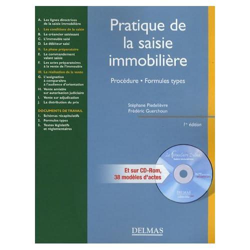Pratique de la saisie immobilière : Procédure, formules types (1Cédérom)