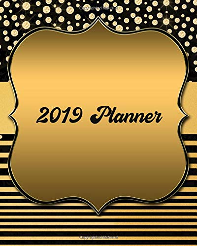2019 Planner: January - December with Monthly & Weekly Pages (Black & Gold Diamonds Shield Design) Diamond Shield