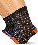 FM London Herren Socken Multi-Stripe, 12er Pack, Schwarz (Black), One size (Herstellergröße: Uk 6-11)