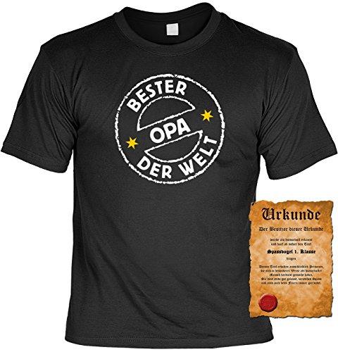 Geburtstag T-Shirt Bester Opa der Welt Vatertag Fun Shirt Geschenk geil bedruckt mit Urkunde Schwarz