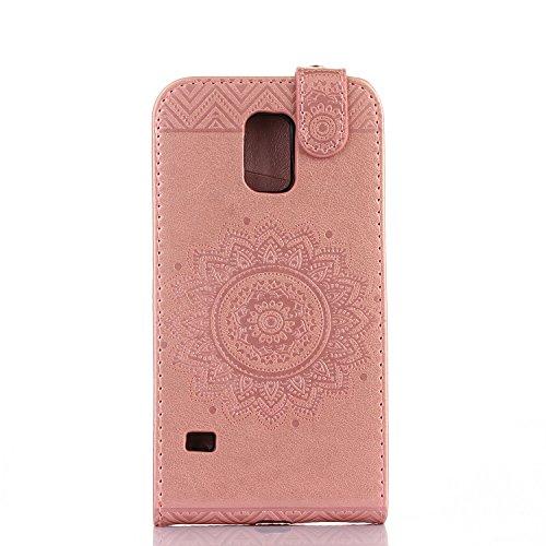 Samsung Galaxy S5 Hülle Leder Tasche Flip Cover Galaxy S5 Wallet Case Alfort Stilvoll Handycover Schwarz Mandala Blumen Muster PU Ledercase Brieftasche Handyhülle für Samsung Galaxy S5 / Galaxy S5 Neo Rose Gold