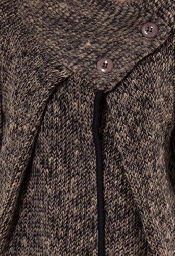 CASPAR - Veste longue hiver pour femme - gilet - FABRIQUE EN ITALIE - plusieurs coloris - STJ001 marron foncé