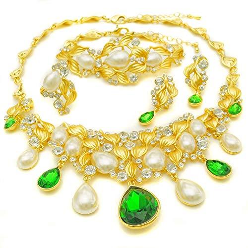Yulaili Perlen Halsketten für Frauen Fashion Schmuck-Sets African Kostüm Fashion Charms Armband 24K Dubai vergoldet ()
