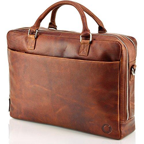 """""""Kano"""" Echt Leder Messenger bag Business Tasche Aktentasche Herrentasche Schultertasche Umhängetasche DIN-A4 Braun Laptoptasche Notebooktasche Cognac"""