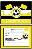 14 x Fussball Einladungskarten Schwarz Gelb Kindergeburtstag Einladung Jungen Kinder Geburtstag - 20 Stück