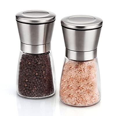 Inlife Salt and Pepper Grinder Set, Premium Pair of Salt & Peppercorn Mills with Ceramic Grinder to Adjustable Coarseness - Brushed Stainless Steel and Glass Body Shakers by innotree