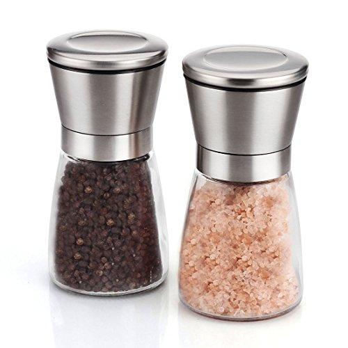 Elegante Salz und Pfeffermühle Set, Inlife Salzmühle & Pfeffermühlen Glas-Körper mit verstellbarem KeramikMahlwerk