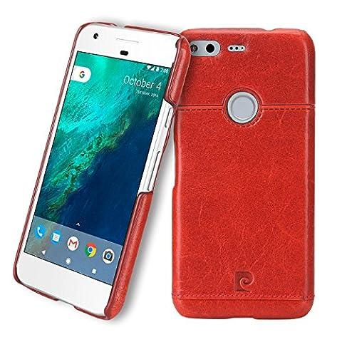 Google Pixel Case, Pierre Cardin Premium Luxurious Slim Italian Genuine Cow Leather Hard Back Cover Back Case for Google Pixel (2016), Red