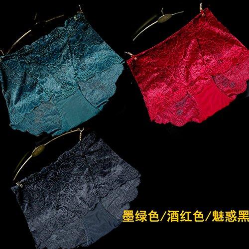 RRRRZ*3 grandi installato Top lombo di Ms. intimo pizzi tessuti e biancheria intima sexy donna non-marking ,L, sottile e trasparente di colore verde scuro / rosso / nero