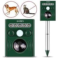 INTEY Katzenschreck Solar Tiervertreiber Ultraschall 【5 Modes für Vertreiben】 Tierabwehr Wasserdicht Hundeschreck Batteriebetrieben Multifrequenz