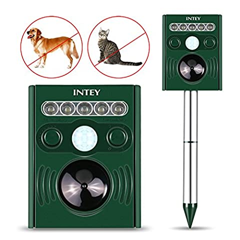 INTEY Ultrasonic Solar Powered Cat Repellent Animal Scarer Outdoor Waterproof Mole Dog Cat Deterrent for Yard, Lawn and