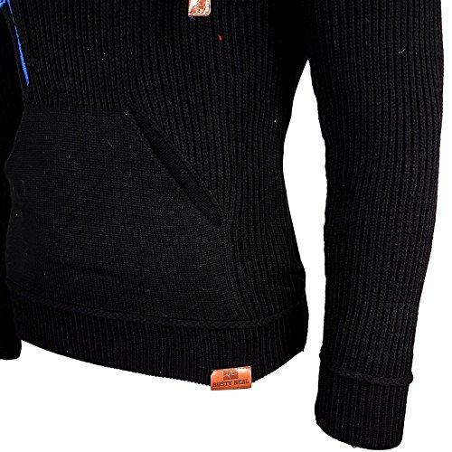 Avroni Strickpullover Schalkragen Slim Fit Pullover Strick Herren Schal A1-13276 Schwarz / Sax