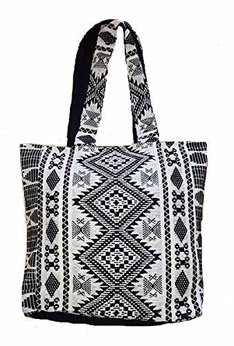 Süße New Navajo Muster bunt Hand Made Woven Top Griff Handtasche schwarz (Hand-woven-handtasche)