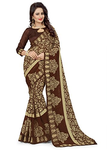 Oomph! Women's Printed Brasso Sarees - Hickory Brown