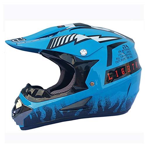 LXMJ Helm, Ganzjahreshelm, Motorrad/Offroad Rennhelm für Herren, kostenlose Schutzbrille, Maskenhandschuhe, geeignet für einen Kopfumfang von 60 bis 63 cm (23,6 bis 24,8 Zoll), Sky Blue