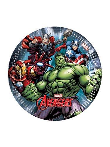 Ciao Procos 86664.-Teller Papier Marvel Avengers Power, Ø20cm, 8Stück, Mehrfarbig