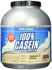 Body Attack 100% Casein Protein Cookies & Cream, 1er Pack (1 x 1.8 kg)