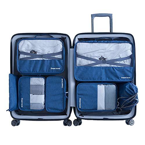 Slimfone1 Packwürfel 7-Teiliges Kleidertaschen Set, Slimfone Packing Cubes | Packtaschen Kofferorganizer für Koffer Taschen Organise Blue