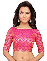 99f06f35fa9494 STUDIO SHRINGAAR WOMEN S BENARAS BROCADE SAREE BLOUSE WITH BOAT NECK  -JHUMKA DESIGN
