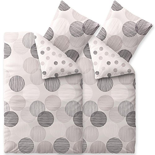 CelinaTex Touchme Filia Biber Bettwäsche 135 x 200 cm 4-teilig grau anthrazit Flauschiger Bettbezug Punkte 6000048