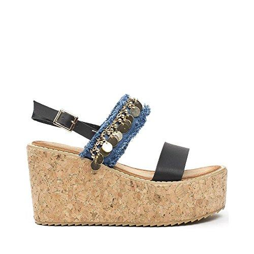 Sandalias Zapatos Maca Dos Ideales Con Decorado De Cuña Negra v8PymNwOn0
