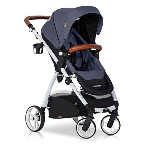 easyGO Buggy Sport Kinderwagen OPTIMO Denim mit Liegefunktion – zusammenklappbar – Alu und Leder – Baby ab 6. Monate