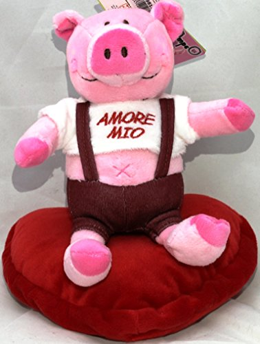 Peluche maialino su cuore san valentino con scritta amore mio 20 cm
