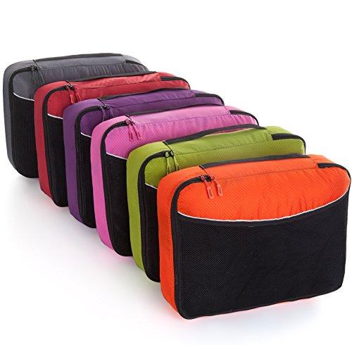 Packwürfel Kleidertaschen Packing cubes Koffertaschen für angenehmes Reisen und aufgeräumte Koffer -Große und mittelgroße Taschen zum Schutz und zur Komprimierung von vielen Kleidungsstücken, Schuhen  Large-Pink