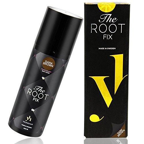 YoungHair The Root Fix - Dunkelbraun Haarfarbe spray - Magic Retoucher - Ansatzspray für graue Haare - Farbspray - Haarspray Farbe Retouch 125 ml (Temporäre Spray Haarfarbe)
