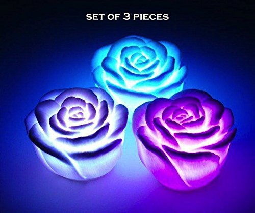 SET OF 3 PREMIUM LED Rose ~ 7 Colour changing Flower Night...