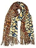 Caspar SC502 Donna Sciarpa con Stampa Leopardo/Tigre, Colore:cognac, Dimensioni:Taglia unica